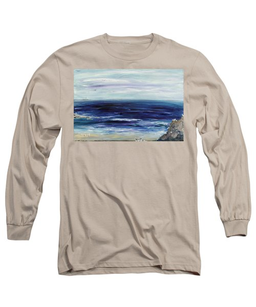 Seascape With White Cats Long Sleeve T-Shirt
