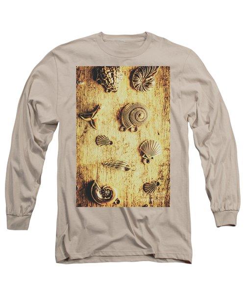 Seashell Shaped Pendants On Wooden Background Long Sleeve T-Shirt