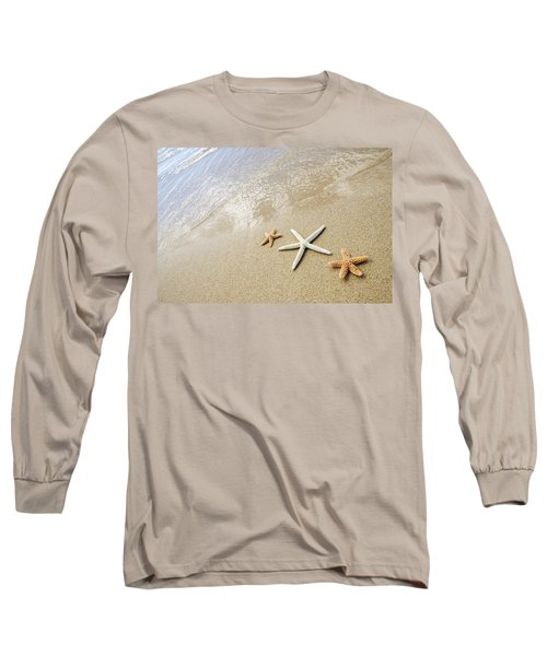 Seastars On Beach Long Sleeve T-Shirt by Mary Van de Ven - Printscapes