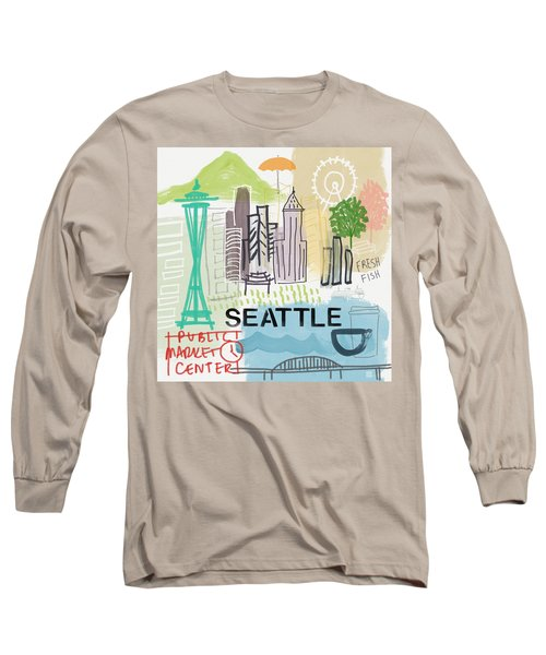 Seattle Cityscape- Art By Linda Woods Long Sleeve T-Shirt