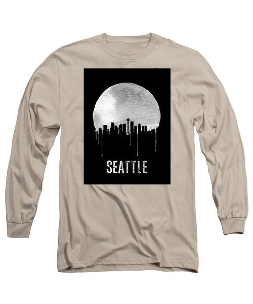 Seattle Skyline Black Long Sleeve T-Shirt by Naxart Studio