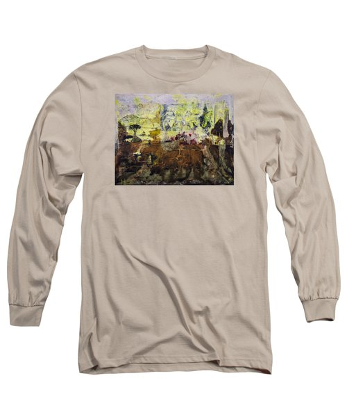 Long Sleeve T-Shirt featuring the painting Senegambia by Ron Richard Baviello