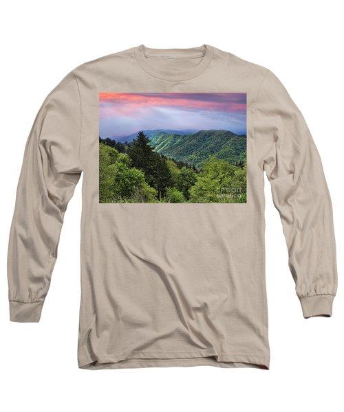 Setting Sun Over The Smokey Mountains Long Sleeve T-Shirt