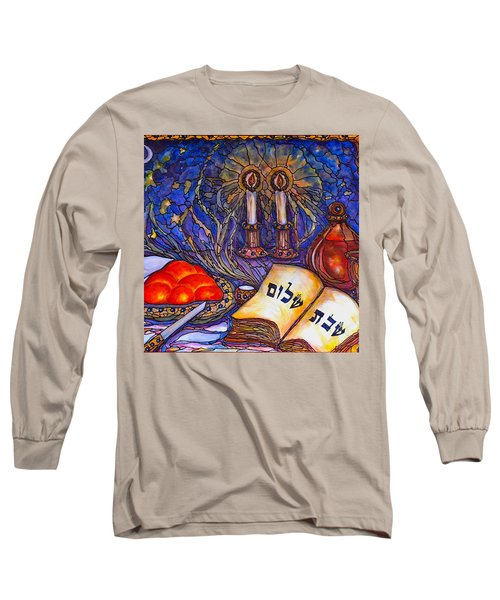 Long Sleeve T-Shirt featuring the painting Shabbat Shalom by Rae Chichilnitsky