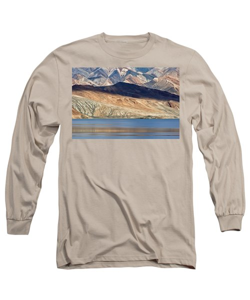 Long Sleeve T-Shirt featuring the photograph Shadow Tso Moriri, Karzok, 2006 by Hitendra SINKAR