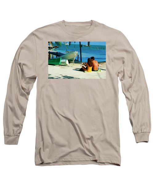 Sharing A Coconut On Caye Caulker, Belize Long Sleeve T-Shirt