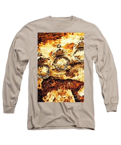 Shark Pendants On Rusty Marine Background Long Sleeve T-Shirt