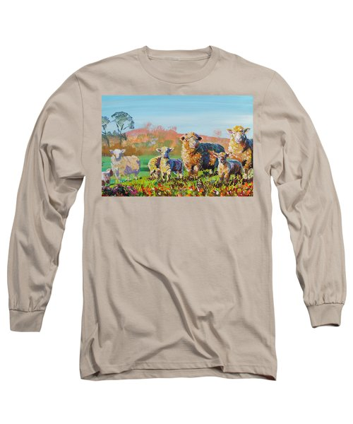 Sheep And Lambs In Devon Landscape Bright Colors Long Sleeve T-Shirt