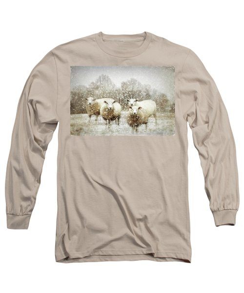 Long Sleeve T-Shirt featuring the photograph Sheep Gathering In Snow by Bellesouth Studio