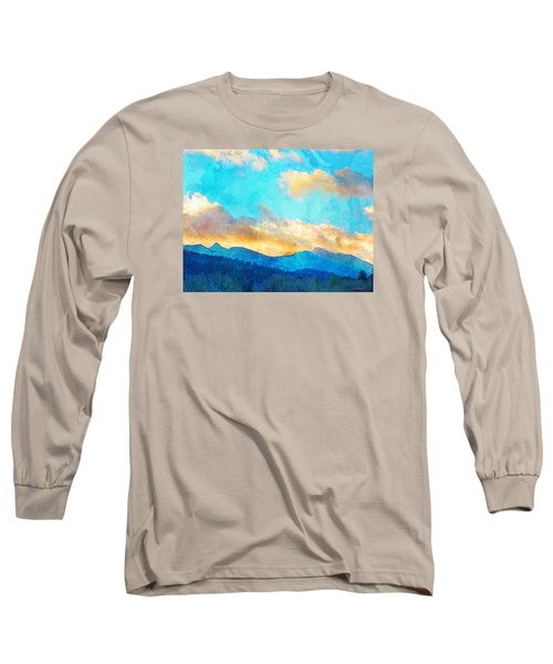 Long Sleeve T-Shirt featuring the photograph Sheeps Head And Truchas Peaks-predawn December by Anastasia Savage Ealy