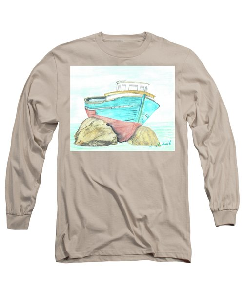 Long Sleeve T-Shirt featuring the painting Ship Wreck by Terry Frederick