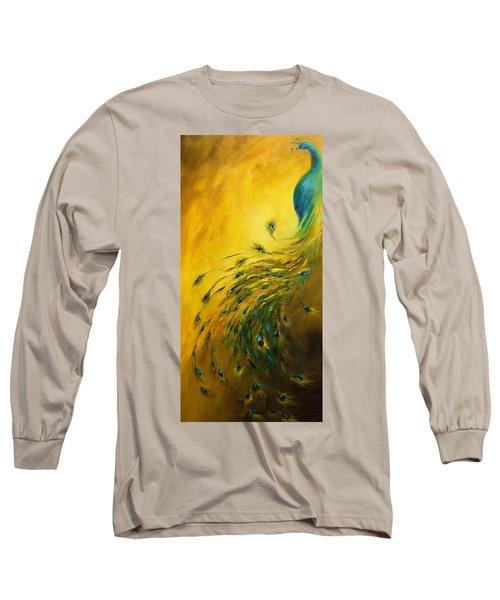 Show Off 1 Vertical Peacock Long Sleeve T-Shirt by Dina Dargo