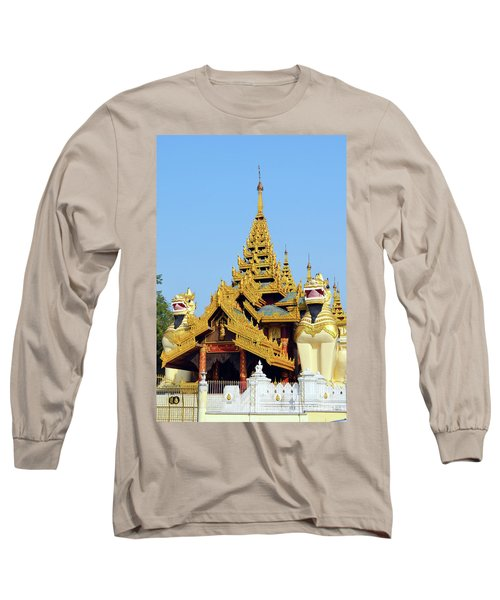 Long Sleeve T-Shirt featuring the digital art Shwedagon Pagoda 1 by Eva Kaufman