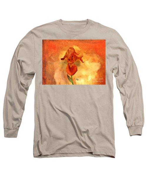 Shy Iris Long Sleeve T-Shirt by Marsha Heiken