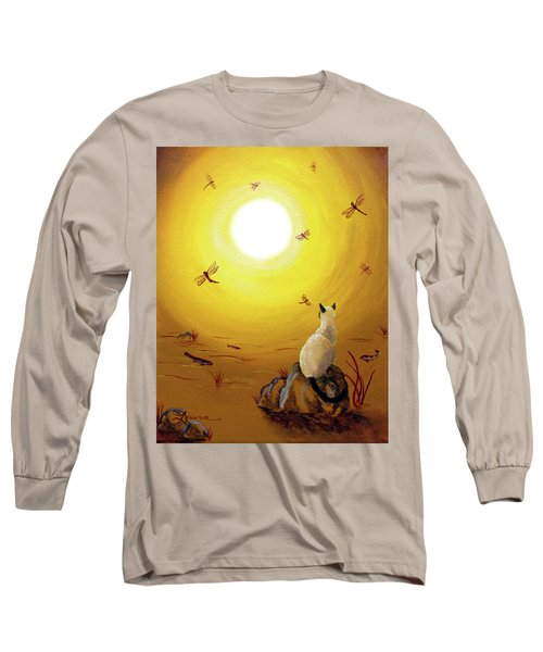 Siamese Cat With Red Dragonflies Long Sleeve T-Shirt by Laura Iverson