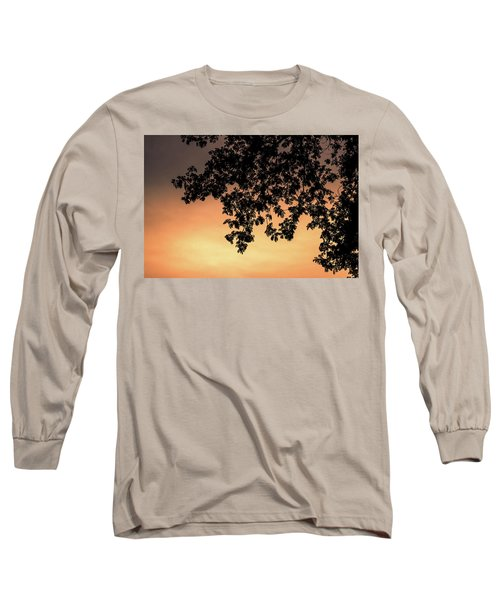Silhouette Tree In The Dawn Sky Long Sleeve T-Shirt by Jingjits Photography