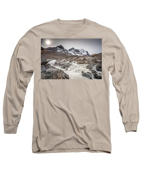 Long Sleeve T-Shirt featuring the photograph Silky Melt Water Of Athabasca Glacier by Pierre Leclerc Photography