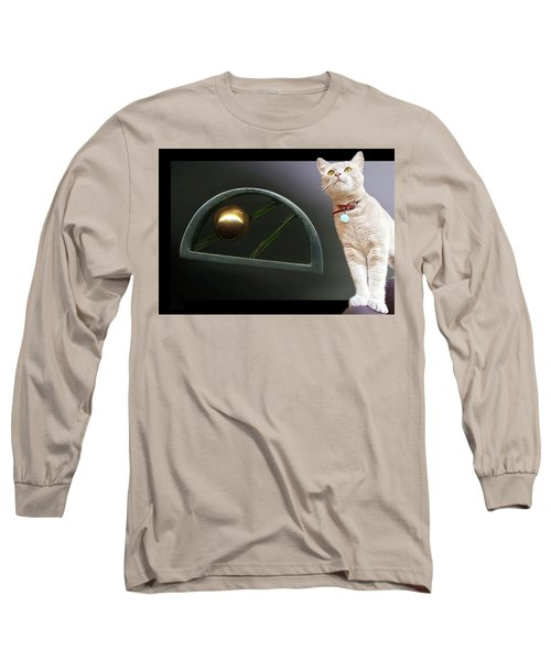 Cat, Silver And Gold  Brooch Long Sleeve T-Shirt