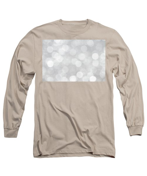 Silver Grey Bokeh Abstract Long Sleeve T-Shirt by Peggy Collins
