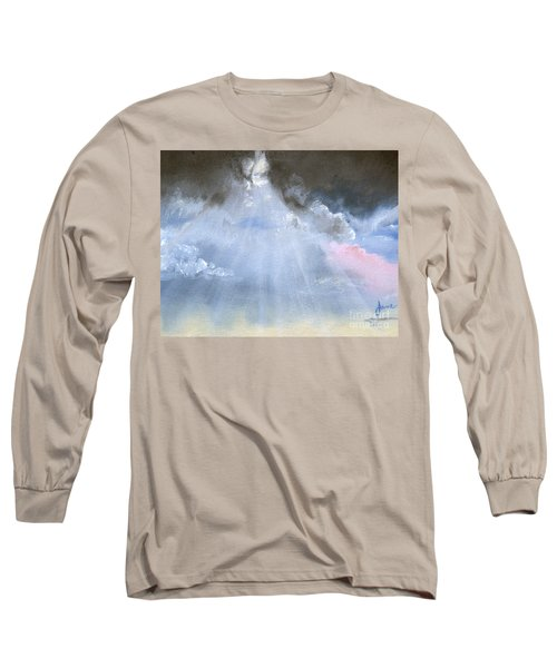 Long Sleeve T-Shirt featuring the painting Silver Lining Behind The Dark Clouds Shining by Jane Autry