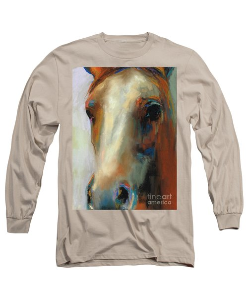 Long Sleeve T-Shirt featuring the painting Simple Horse by Frances Marino