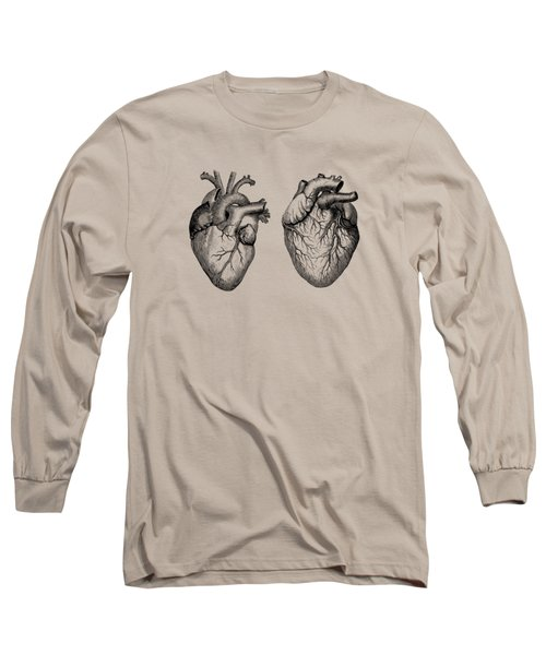 Simple Human Heart - Dual View - Vintage Anatomy Poster Long Sleeve T-Shirt