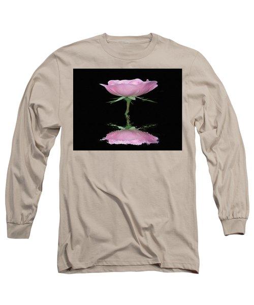 Single Reflected Pink Rose Long Sleeve T-Shirt