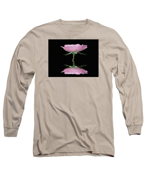 Single Reflected Pink Rose Long Sleeve T-Shirt