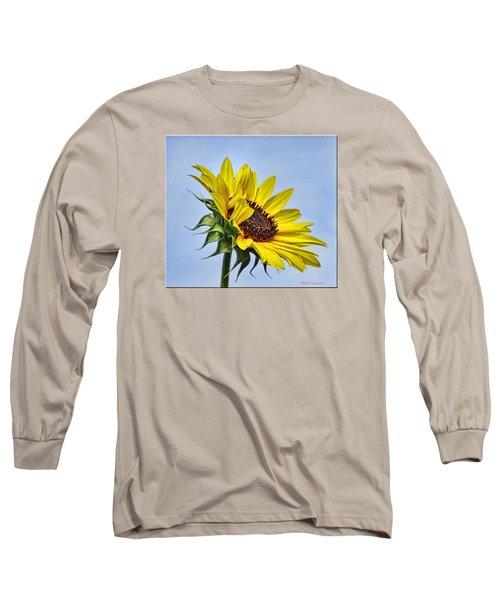 Single Sunflower Long Sleeve T-Shirt by Mikki Cucuzzo
