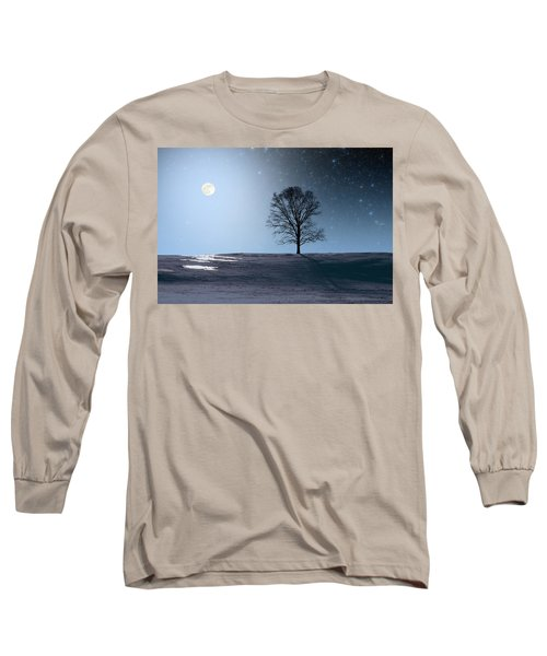 Long Sleeve T-Shirt featuring the photograph Single Tree In Moonlight by Larry Landolfi
