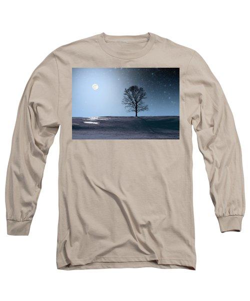 Single Tree In Moonlight Long Sleeve T-Shirt