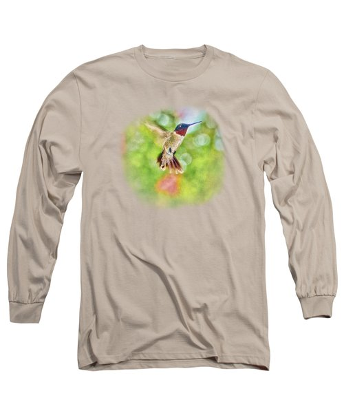 Sir Ruby Throat - Hummingbird Long Sleeve T-Shirt by Barry Jones