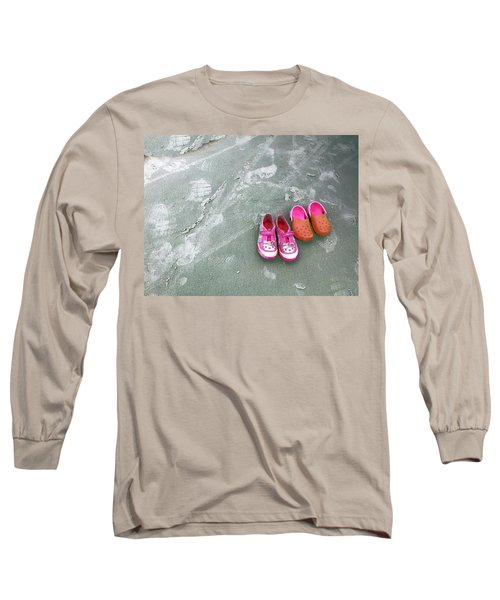 Sisters Playing Barefoot In The Sand Long Sleeve T-Shirt