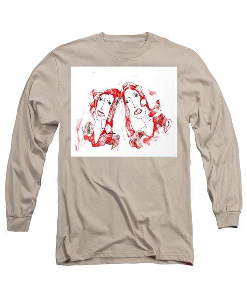 Long Sleeve T-Shirt featuring the digital art Sisters by Sladjana Lazarevic