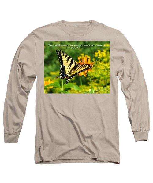 Long Sleeve T-Shirt featuring the photograph Sitting Pretty Giving by Diane E Berry