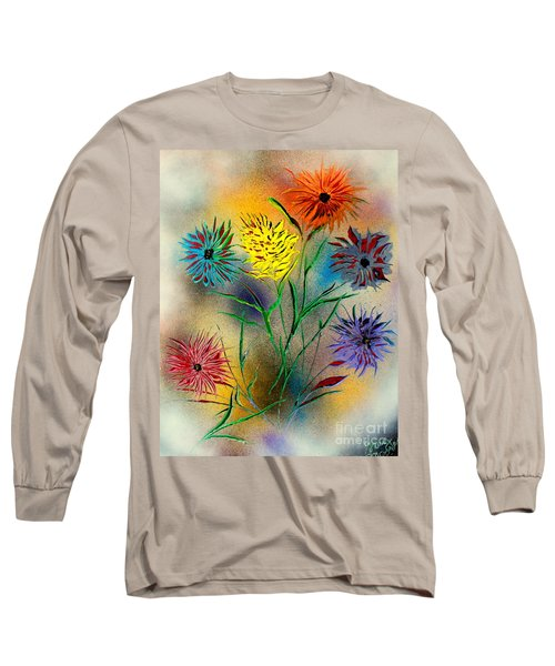 Long Sleeve T-Shirt featuring the painting Six Flowers - E by Greg Moores