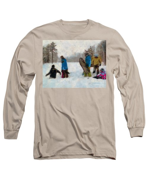 Six Sledders In The Snow Long Sleeve T-Shirt
