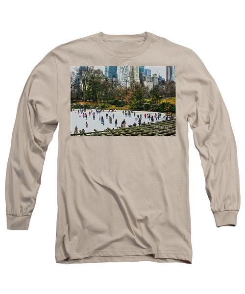 Skating At Central Park Long Sleeve T-Shirt by Sandy Moulder