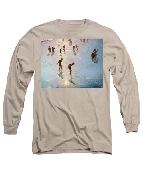 Skating In The Sunset  Long Sleeve T-Shirt by Pierre Van Dijk