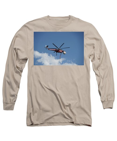 Long Sleeve T-Shirt featuring the photograph Skycrane Works The Red Canyon Fire by Bill Gabbert