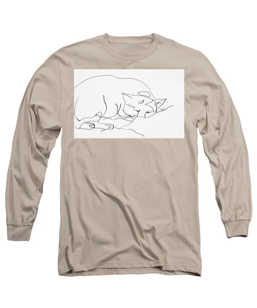 Sleeping Cat Long Sleeve T-Shirt by Leela Payne