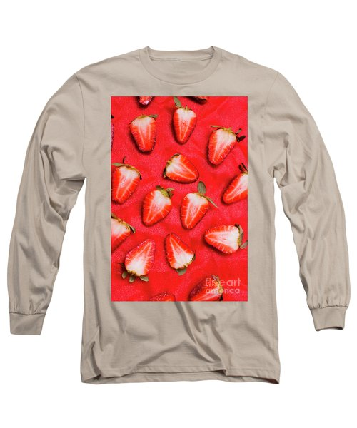 Sliced Red Strawberry Background Long Sleeve T-Shirt