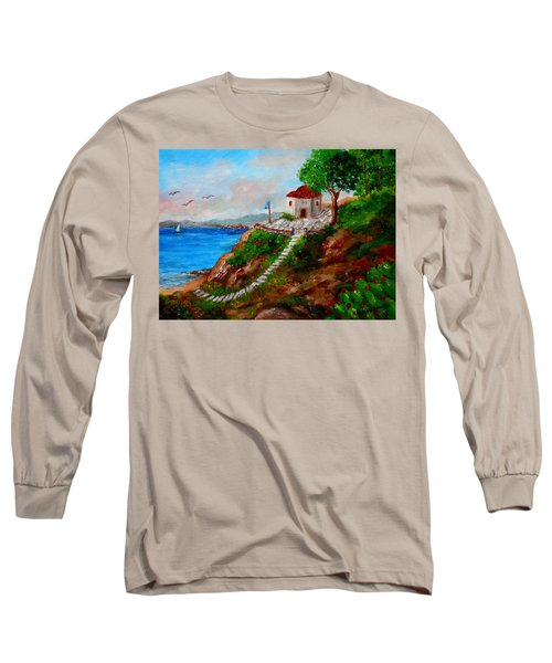 Small Church In Greece Long Sleeve T-Shirt