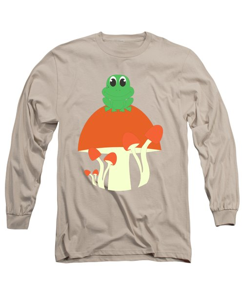 Small Frog Sitting On A Mushroom  Long Sleeve T-Shirt by Kourai
