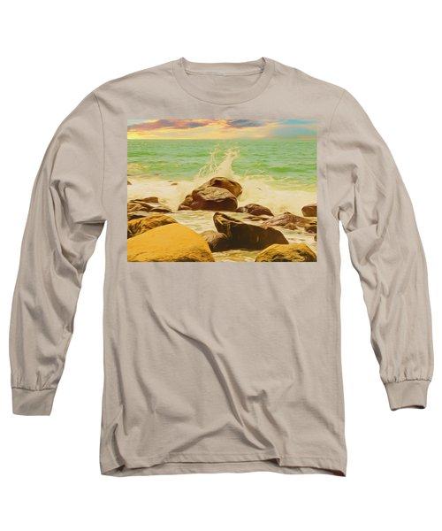Small Ocean Waves,large Rocks. Long Sleeve T-Shirt