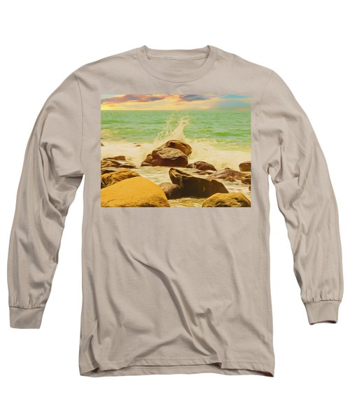 Small Ocean Waves,large Rocks. Long Sleeve T-Shirt