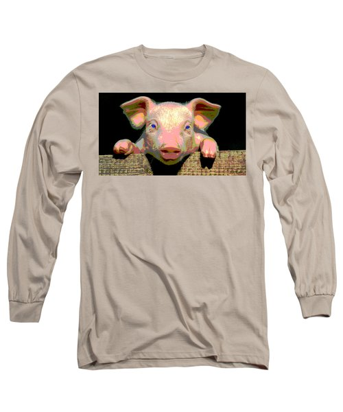 Long Sleeve T-Shirt featuring the mixed media Smart Pig by Charles Shoup
