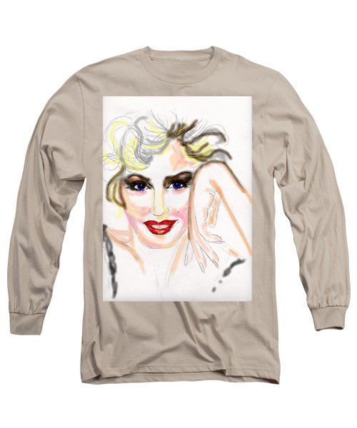 Long Sleeve T-Shirt featuring the drawing Smile For Me Marilyn by Desline Vitto