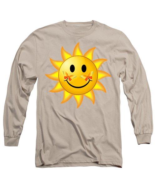 Long Sleeve T-Shirt featuring the digital art Smiley Face Sun by Robert G Kernodle