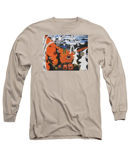 Long Sleeve T-Shirt featuring the painting Smokey Halloween by Jeffrey Koss